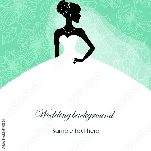 Stickers pour portes Hibou A beautiful silhouette of a bride in a dress on a turquoise background with patterns