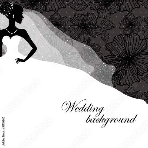 Cadres-photo bureau Hibou A beautiful silhouette of a bride in a dress on a black background with patterns