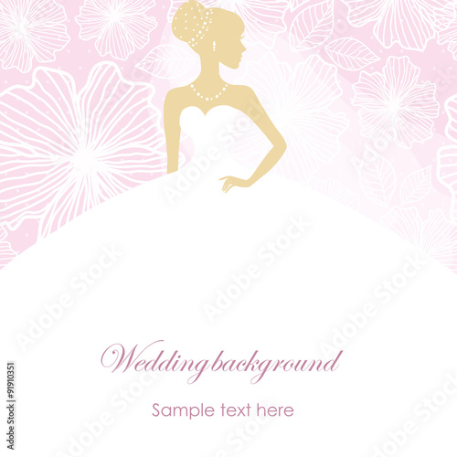 Poster Hibou A beautiful silhouette of a bride in a dress on a pink background with patterns
