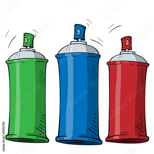 Photo cartoon spray can in three different color on white background