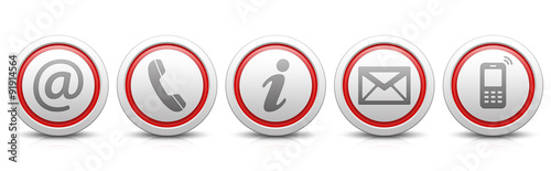 Fotografía  Contact Us – Set of light gray buttons with reflection & red