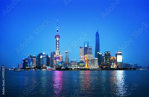 Tuinposter China Shanghai at night, China