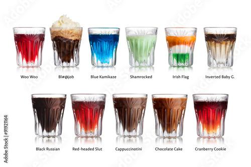Fotografie, Obraz  Shot cocktails isolated set