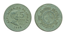 Philippine Five Peso Coins Iso...