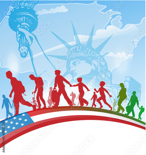 Photo american people immigration background