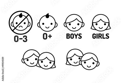 Children icon set - 91934589