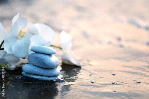 Photo sur Plexiglas Zen pierres a sable Spa stones with flowers on sea beach outdoors
