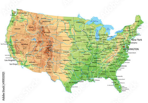 Photo  High detailed United States of America physical map with labeling