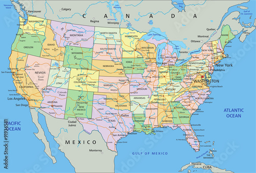 United States of America - Highly detailed editable ...
