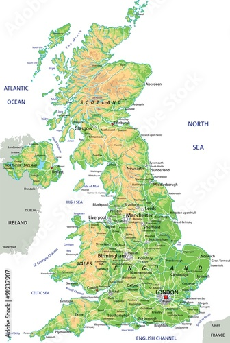 High detailed United Kingdom physical map with labeling. Poster