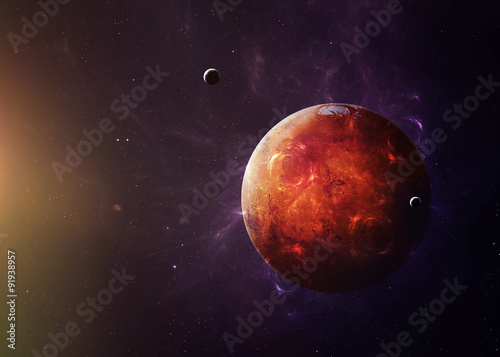 The Mars from space showing all they beauty. Extremely detailed Poster