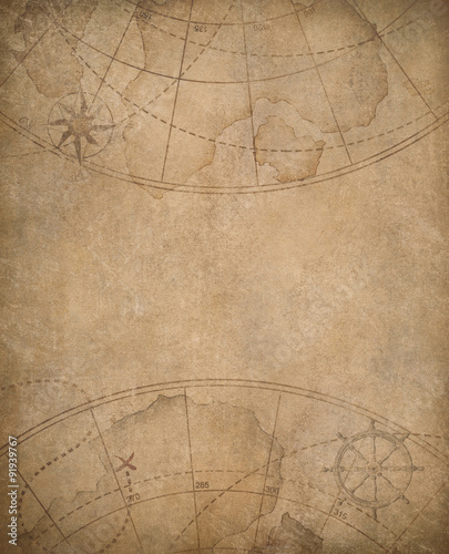 In de dag Schip old map background with copyspace in center