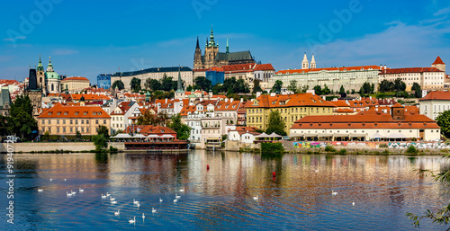 Staande foto Praag View of colorful old town and Prague castle with river Vltava, C