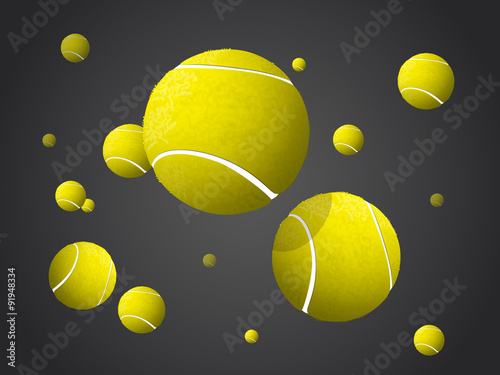 Moving Tennis Balls flying, falling isolated on dark background. - 91948334