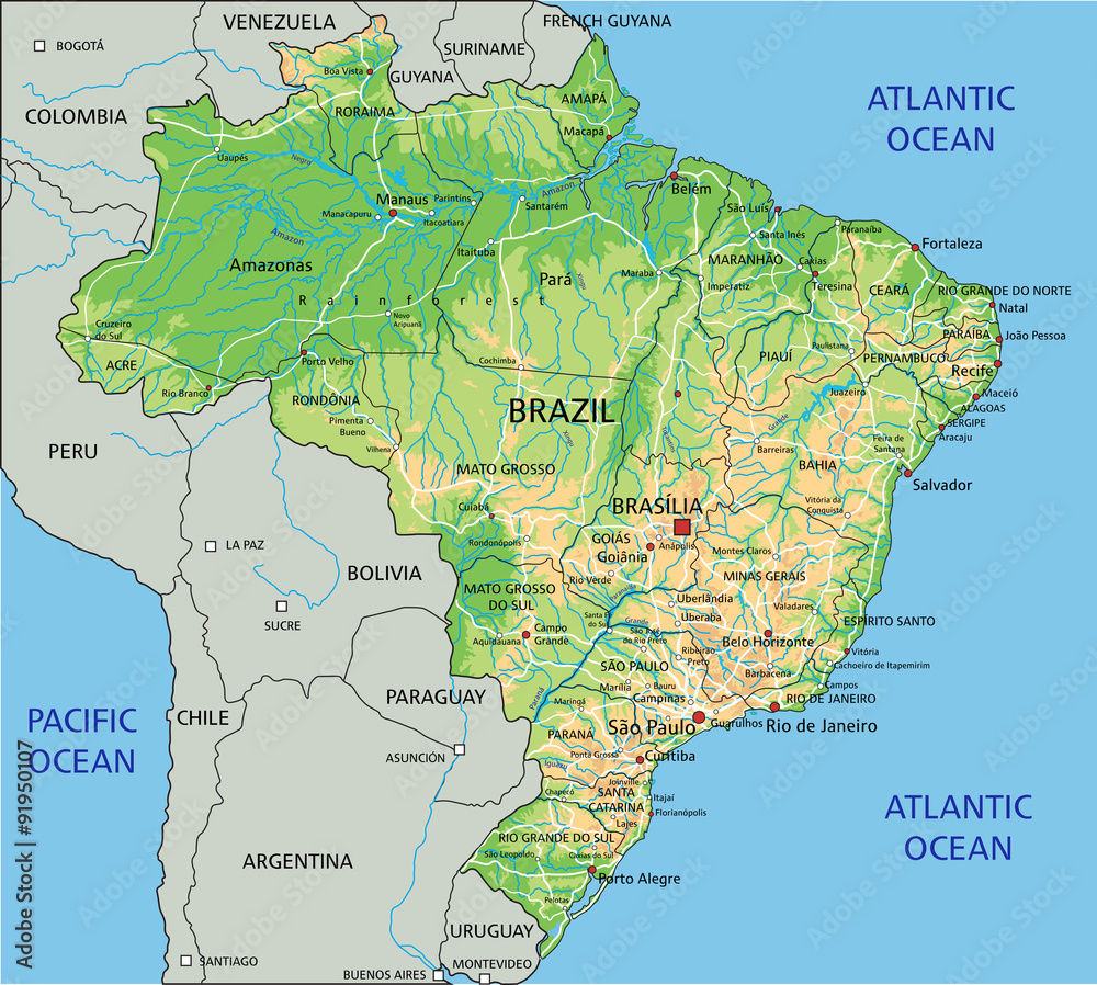 High detailed Brazil physical map with labeling. Foto, Poster ...