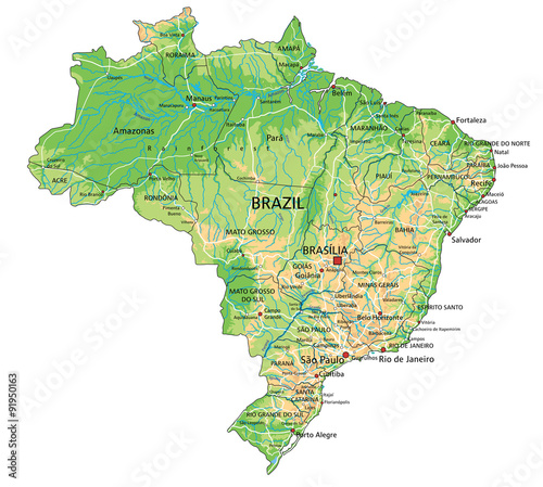High detailed Brazil physical map with labeling. Tablou Canvas