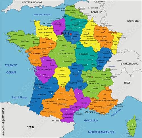 Labeled Map Of France.Colorful France Political Map With Clearly Labeled Separated Layers