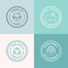 Vector Set Of Badges And Emblems In Trendy Linear Style For Orga