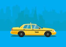 Taxi Car. Flat Styled Illustration