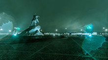 Statue Of Peter The Great In The Rain, Saint-Petersburg, Russia