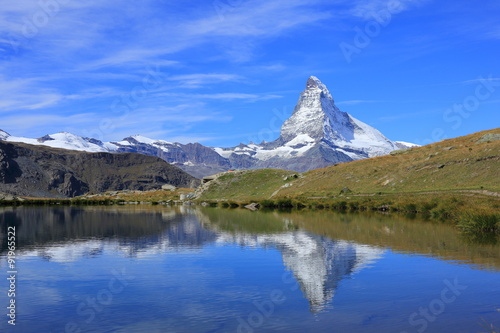 Recess Fitting Reflection Matterhorn and beautiful lake in Switzerland