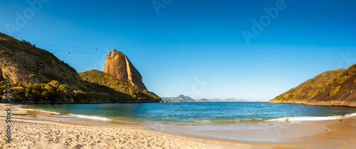 Photo  Vermelha Beach and Sugar Loaf panorama, late afternoon, Urca neighborhood, Rio d