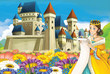 Cartoon scene with princess and castle