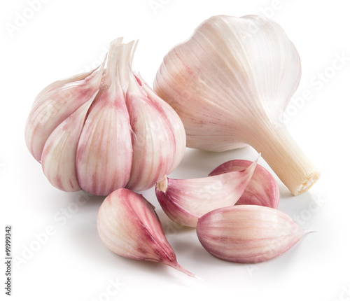 Pinturas sobre lienzo  Garlic. Group isolated on white background.
