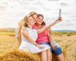 Three best friends taking a selfie