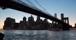 New York City Brooklyn Bridge skyline sunset evening night