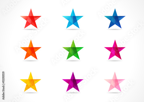 Obraz The colorful vector stars. The shining star icons in the shades of nine colors. - fototapety do salonu