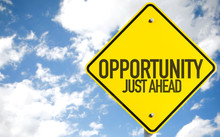 Opportunity Just Ahead Sign With Sky Background