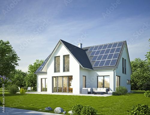 Fotografie, Obraz  Haus Standard weiss mit Solar