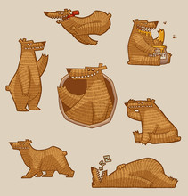 Vector Funny Brown Bear Set On A Gray Background.
