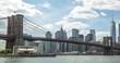 New York City Brooklyn Bridge downtown buildings skyline time-lapse