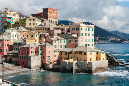 Poster Ligurie Boccadasse, sea district of Genoa with typical colorful houses