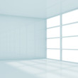 Abstract square white interior, empty room 3d