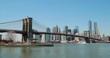 New York City manhattan skyline over Brooklyn Bridge