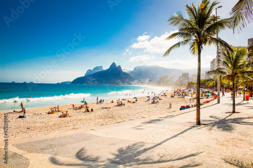 Aluminium Prints Brazil Palms and Two Brothers Mountain on Ipanema beach, Rio de Janeiro