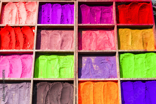 Colorful powders for religious purposes (Hinduism) on a market