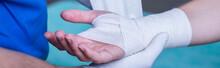 Bandage On Wounded Hand