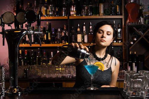 Attractive bartender Canvas Print