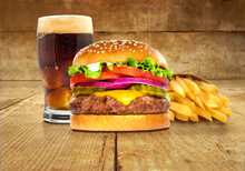 Fries Soda Burger Combo Package Meal Hamburger Cheeseburger On Table Wooden Surface Delicious Perfect Deluxe Sandwich
