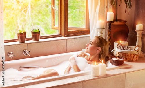 Fotografie, Obraz  Woman bathing with pleasure