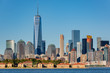Downtown New York skyline with Ellis Island in the foreground