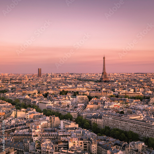 Photo Stands Paris Sunset over Paris with Eiffel Tower, France