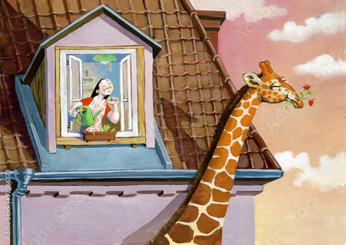 Photo  giraffe reality and dream in a girl life surreal illustration