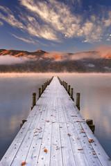 Panel SzklanyJetty in Lake Chuzenji, Japan at sunrise in autumn