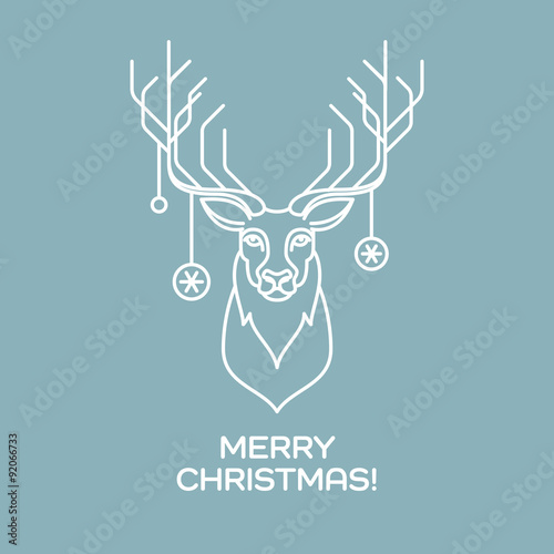 Christmas deer. Line art. Vector illustration