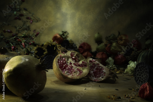 Fotografie, Obraz  pomegranate, still life, seasonal